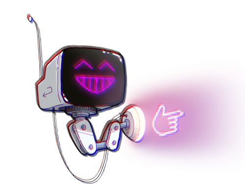 Drawing of a little robot that points to the tell me more button